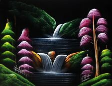 "Painting On Velvet Cloth Waterfall in a Village  19"" X 16"" Best Price Free Ship"