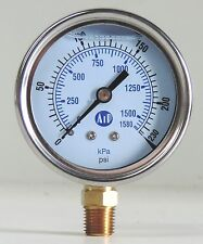 NEW Pressure Gauge Liquid Filled 0 - 230 psi 1500 kpa Air Water Guage Gage AIP