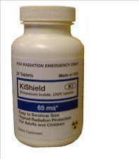 """Potassium Iodide USP Anti-Radiation 1 bottl of 30 tabs Max Iodine 65mg Ex 2022"""""""