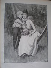 Love's messenger from C T Garland 1893 old print woman on hammock man watching