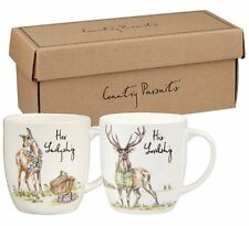 Queens COUNTRY PURSUITS Her LADYSHIP and His LORDSHIP MUG SET Stag + Deer CHINA