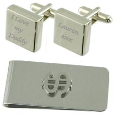 I Love My Daddy Engraved Square Cufflinks Dollar Money Clip Gift Set