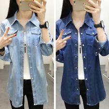 Women's Denim Long Shirt with Flap Pocket Collared Blouse Top Boyfriend Style