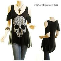 PLUS Punk Gothic Skull Cold Shoulder Swing Jersey Shirt Tunic Top 1X 2X 3X 4X BK
