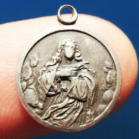 OLD BLESSED VIRGIN MARY & ANGELS SILVER RELIGIOUS MEDAL