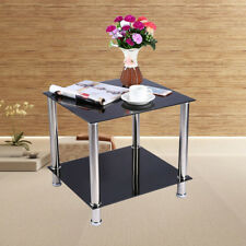 Black / Clear Glass & Stainless Steel Small Display Stand Side Lamp Coffee Table