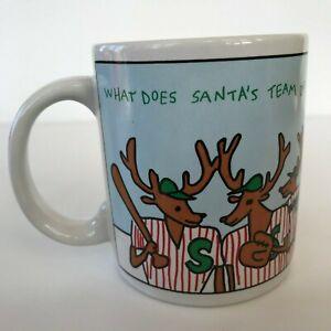 Vintage Santa Claus' Reindeer Team Summer Baseball Coffee Mug Cup Houston Foods