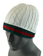 Winter Knit Twist Cable Short Beanie Hat Mens Ski Snow Board Skull Cap - White