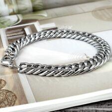 Men's Stainless Steel Bracelet Cuban Curb Chain Silver Wristband Bracelet DES