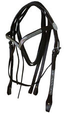 NEW FULL Western Show Leather Bridle Black V Shape Silver Browband & Split Reins