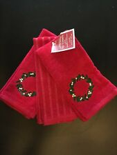 Christmas Tip Towels Wreath Red Gold Glitter Set of 3 NEW with Tags