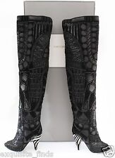 NEW TOM FORD BLACK OVER THE KNEE BOOTS WITH OPEN TOE 38.5 - 8.5