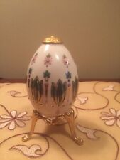 Lenox Easter Egg China Treasures 1994 Emerald Green Hand Painted W/ Stand