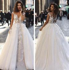 Sexy Weiß Brautkleider Abnehmbarer Zug Spizte Hochzeitskleid 36 38 40 42 44 46++