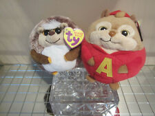"Ty Beanie Ballz Alvin Chipmunk & Prickles Hedgehog 6"" New! + Hockey Coin! Low$"