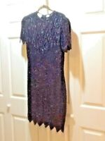 LAURENCE KAZAR Pearls Sequins Silk Black Dress Cocktail Cruise Small 38X30  6 8
