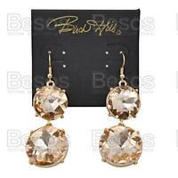 LARGE SPARKLY CRYSTAL EARRINGS round glass RHINESTONE heavy GOLD FASHION gift UK