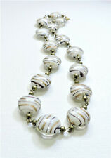 Vintage White Purple Gold Striped Lampwork Art Glass Bead Necklace MY20BN151