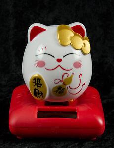 Katze Chinesisch Japanisch Weiß Glücksbringer Maneki Neko Solar- 511 Gar 10 Zug