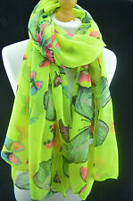 Butterfly Large Print Women Scarf Lady Shawl Wrap Beach Sarong Fluorescent Green
