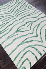 Rug USA Zebra 5' x 8' White/Green Handmade Tufted Woolen Area Rug & Carpet