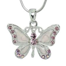 BUTTERFLY Necklace Made With Swarovski Crystal Pink Wings Pendant Gift Charm