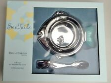 New Reed & Barton Fish Sea Tails Baby Feeding Set Bowl & Spoon 18/8 Stainless