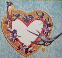 c.1909 Valentine Postcard Purple & Blue Birds with Flowers
