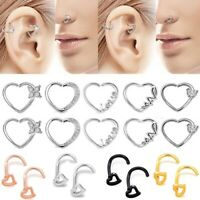 Surgical Steel Heart Nose Ring Ear Stud Bone Bar Screw Pin Body Piercing 18/20g
