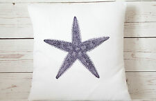 "Indigo coastal Starfish - 16"" cushion cover nautical shabby vintage chic"