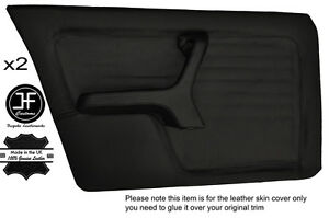 BLACK STICH 2X FRONT FULL DOOR CARD LEATHER COVERS FITS BMW 3 SERIES E30 SEDAN