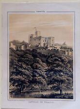 CATALUÑA, Castillo de Vilasar,Litografía original de Parcerisa 1839-1865