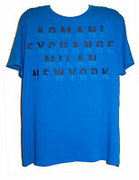 Armani Exchange A/X Blue Logo Graphic Design Cotton Men's T-Shirt Size 2XL NEW