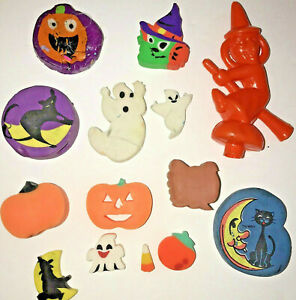 Vtg Halloween Erasers Pencil Toppers Lisa Frank Hopkins Taiwan Blowmold Witch