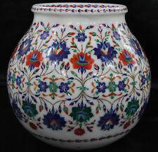 Marble inlay Pietra Dura Beautiful Vase Home Decor Art Inlaid Work