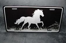 HORSE BLACK BRUSHED METAL NOVELTY LICENSE PLATE TAG FOR CARS