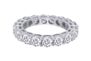 4.50 ct Simulated Lab 18K White Gold Over Round Cut Eternity Band Ring