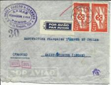 Portugal Sc#C2(pair) PORTO 19/10/41 AIRMAIL to France, WWII CENSOR-see reverse
