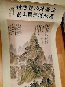 Vintage Old Original Chinese Watercolor Calligraphy Scroll Painting  Signed  -