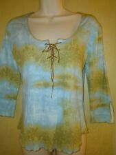 Fashion bug sky blue tie dye leather lace up blouse WS