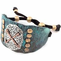 Western Cowgirl Hammered Native Arrow Adjustable Leather Cuff Bracelet Patina