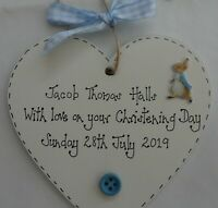 Christening Gift New Baby Peter Rabbit Personalised heart plaque  blue or pink