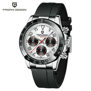 PAGANI DESIGN PD-1687 Men's Quartz Wrist Watch Chronograph 100M Rubber Band Box