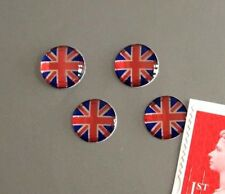 4 Union Jack Flag Stickers Domed Finish Red, Blue & Chrome Miniature 10mm Dia