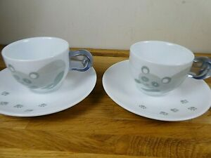 Pair of Guzzini Panda Design Espresso Cups and Saucers