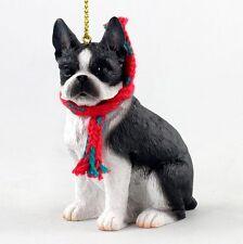 Boston Terrier Christmas Ornament Scarf Figurine