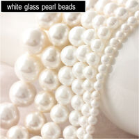 Lots 10-100Pc White Glass Pearl Round Loose Beads 4-12mm Bridal Jewelry Making