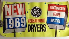 Vintage General Electric Poster Ad 1969 Store Display Versatronic Dryer