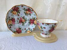 "Royal Albert Old Country Roses ""Blue Damask"" Bone China tea cup & saucer (4)"