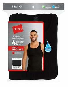 Hanes Men Tank Dyed A-Shirt 4Pack TAGLESS ComfortSoft Classics Cotton Black Grey